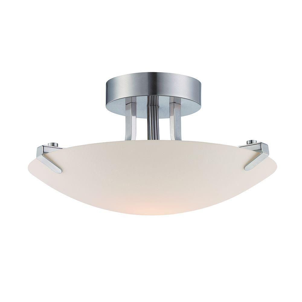 Designers Fountain Archer Led Satin Platinum Semi Flush Mount Light