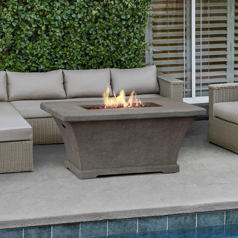Attrayant Fiber Concrete Rectangle Chat Height Propane Gas Fire Pit