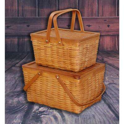 15 in. W x 8 in. H x 12 in. D and 12.5 in. W x 7 in. H x 9.5 in. D Woodchip Baskets - Set of 2