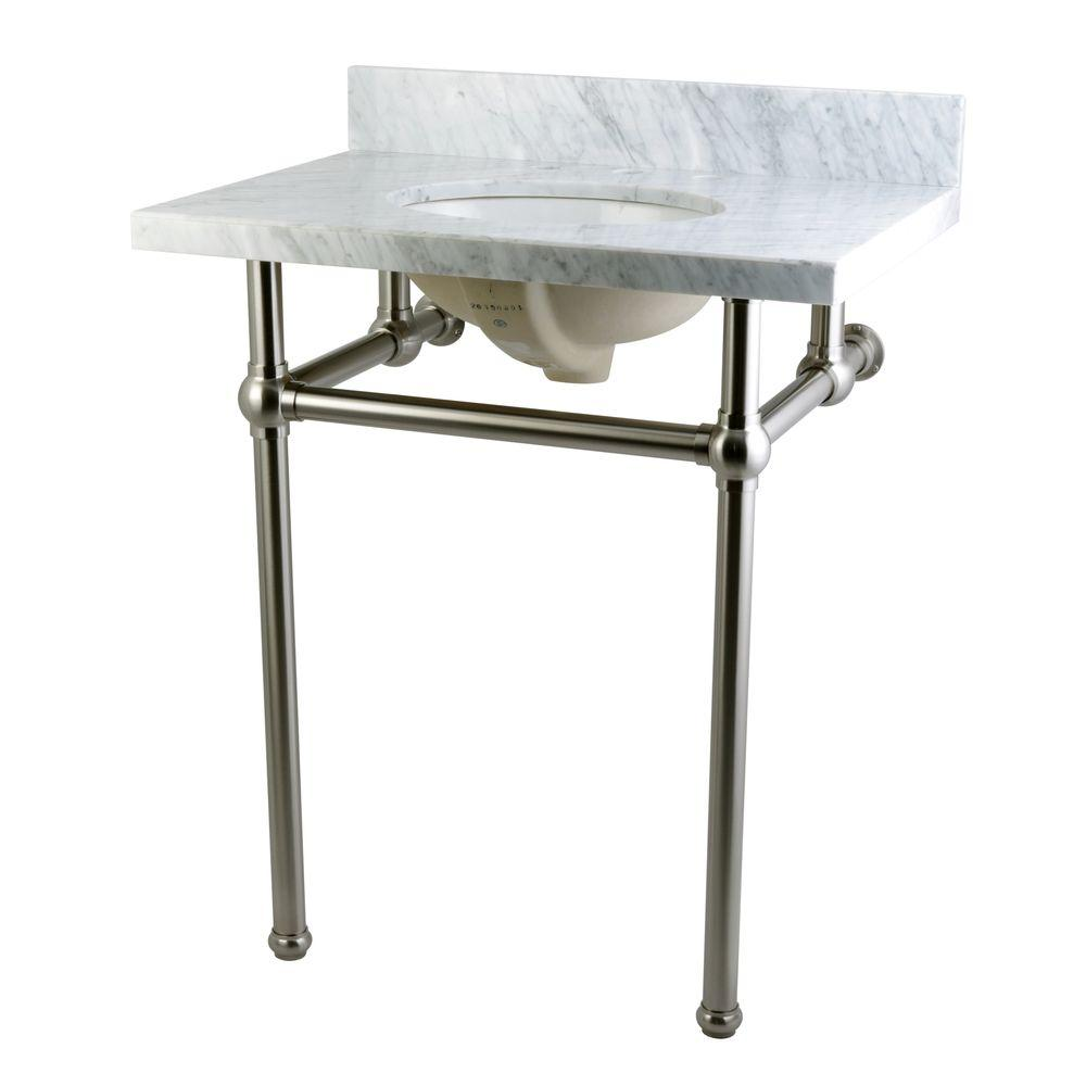 Kingston brass washstand 30 in console table in carrara for Console bathroom vanity