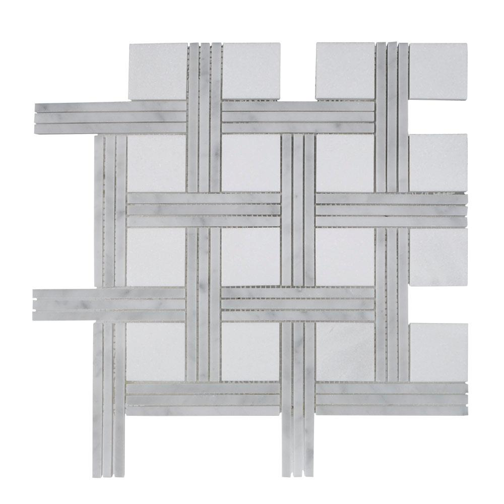 Jeff Lewis Bedford 12.375 In. X 12.375 In. X 10 Mm Stone Mosaic Tile