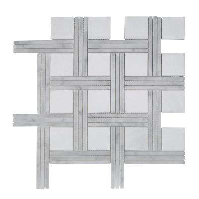 Bedford White Basket Weave 12.375 in. x 12.375 in. x 10 mm Marble Mosaic Floor and Wall Tile