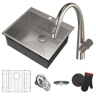 Pax All-in-One Drop-In Stainless Steel 25 in. 1-Hole Single Bowl Kitchen Sink with Arqo Faucet in Stainless Steel