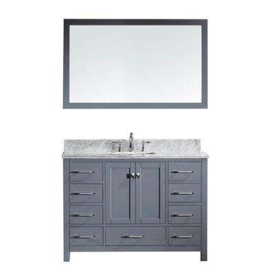 Caroline Avenue 49 in. W Bath Vanity in Gray with Marble Vanity Top in White with Square Basin and Mirror