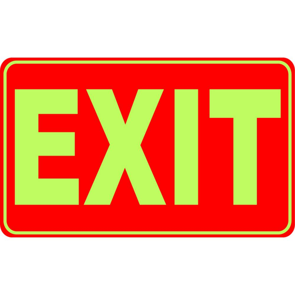 12 in. x 8 in. Glow-in-the-Dark Plastic Rectangular Exit Sign