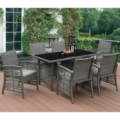 Dinami 7-Piece All-Weather Wicker Rectangular Outdoor Dining Set with Beige Cushion
