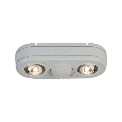 Revolve 180-Degree White Twin Head Motion Activated Outdoor Integrated LED Security Flood Light at 5000K Daylight