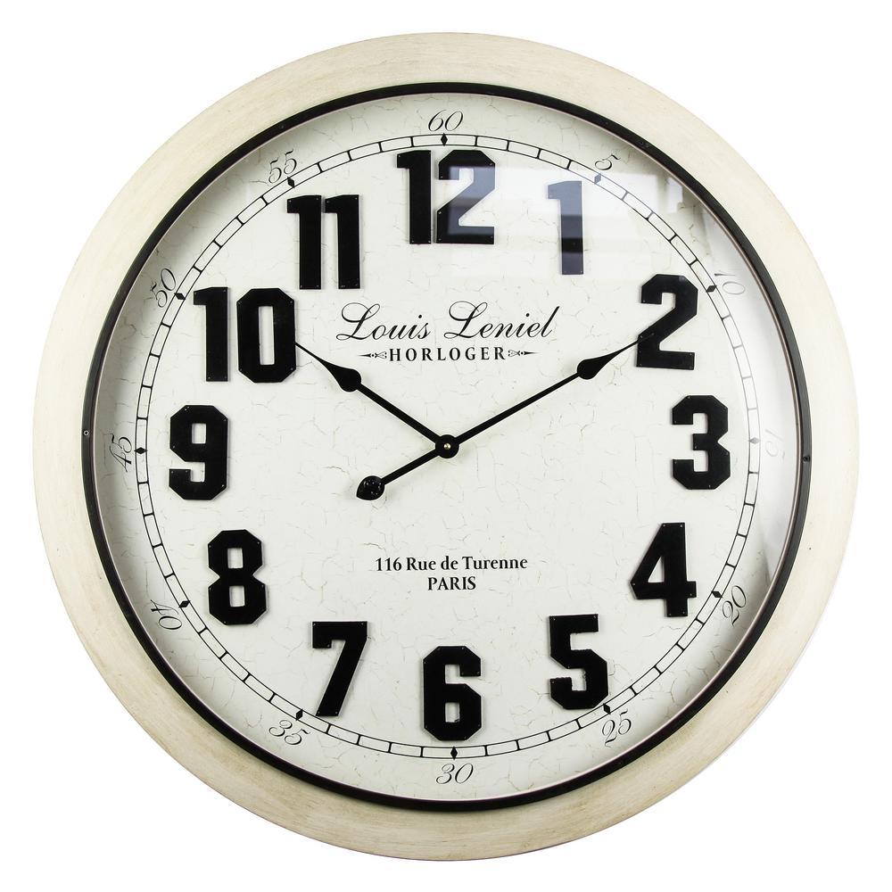Louis Leniel Distressed Off-White Analog Wall Clock