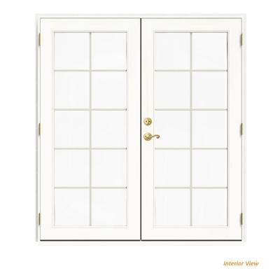 72 in. x 80 in. W-2500 White Clad Wood Left-Hand 10 Lite French Patio Door w/White Paint Interior