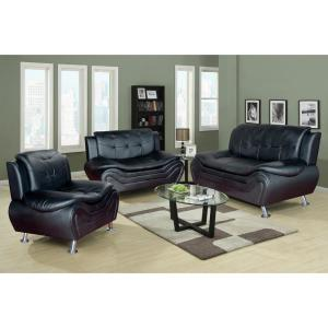 3-Piece Black Leather Sofa Set
