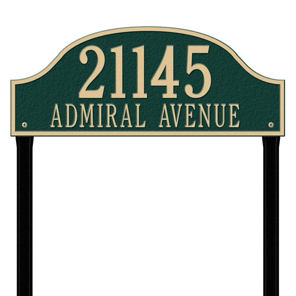 Admiral Estate Arch Green/Gold Lawn Two Line Address Plaque