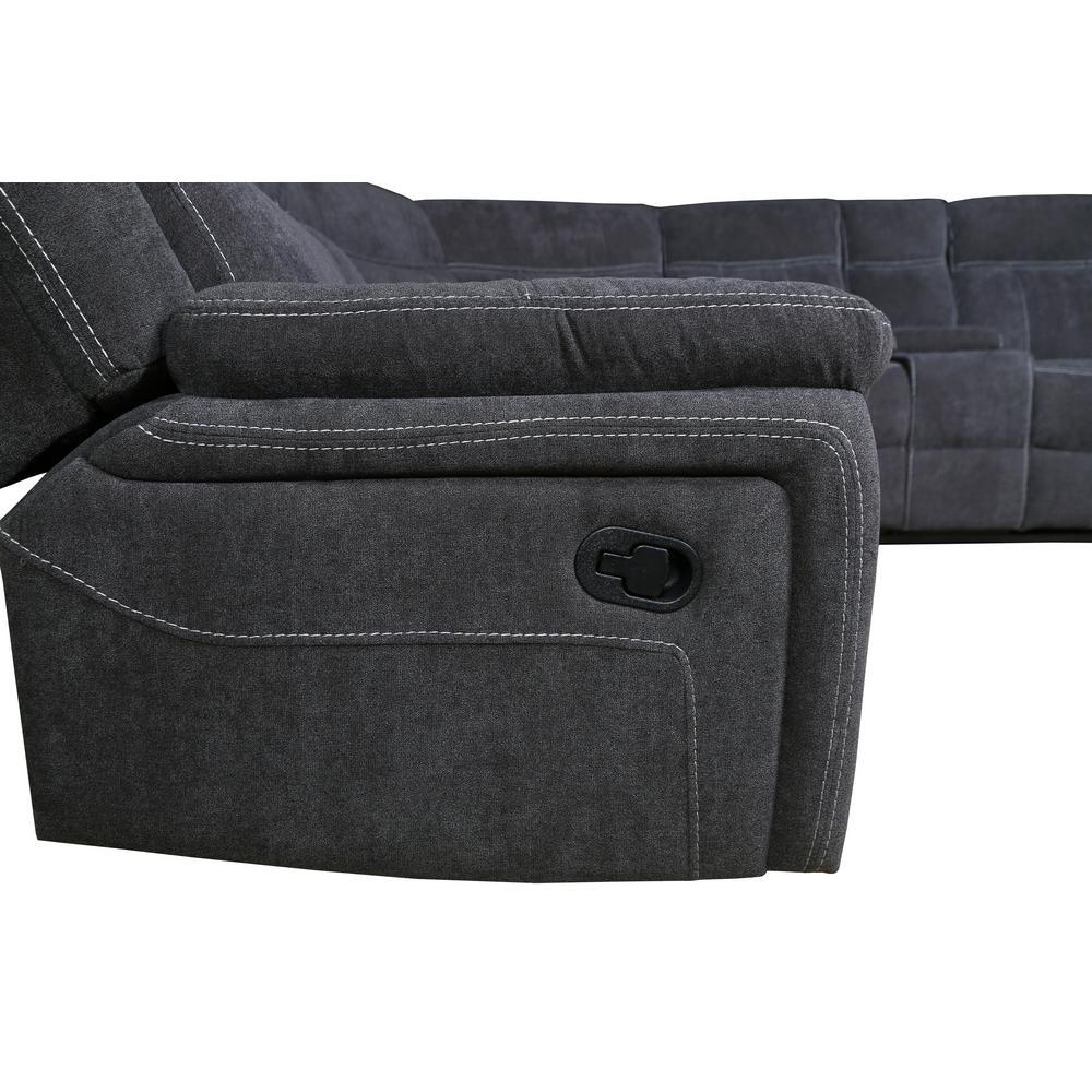 6-Piece Dark Grey Fabric Reclining Sectional