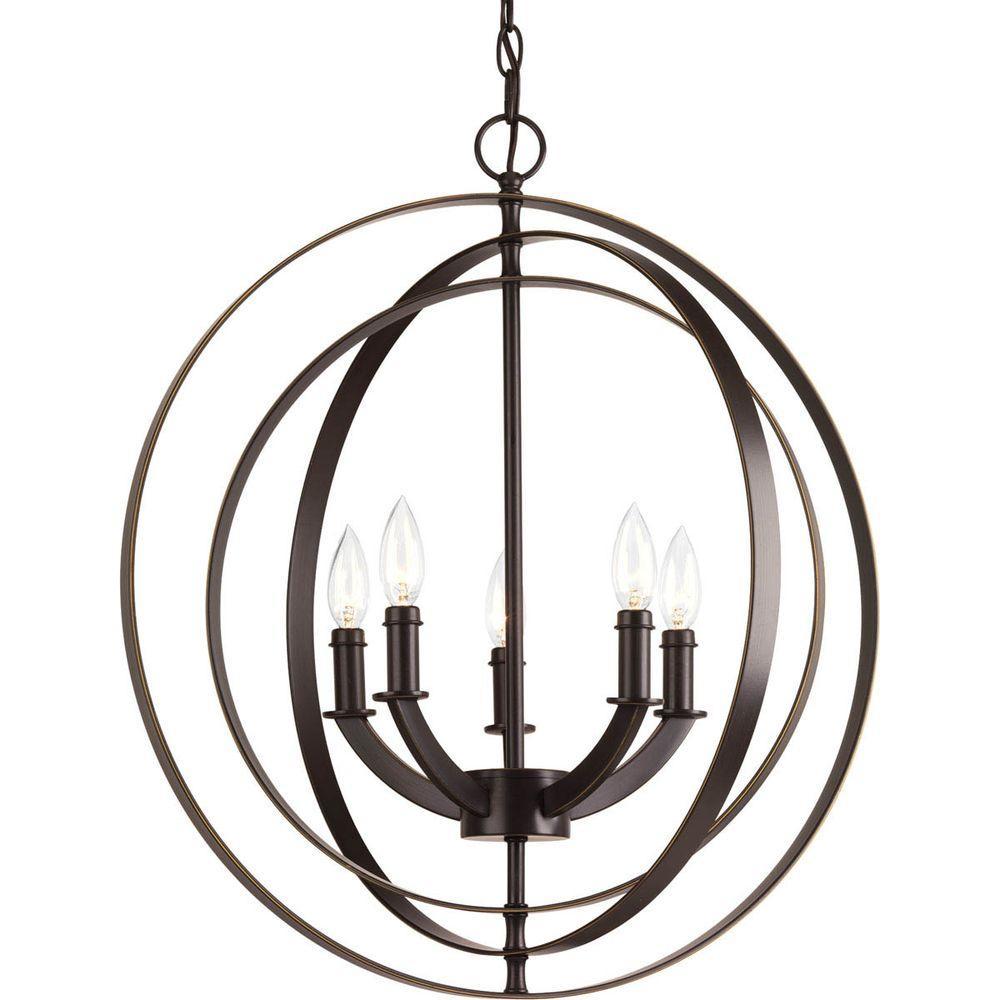 Progress Lighting Equinox Collection 5 Light Antique Bronze Orb Chandelier