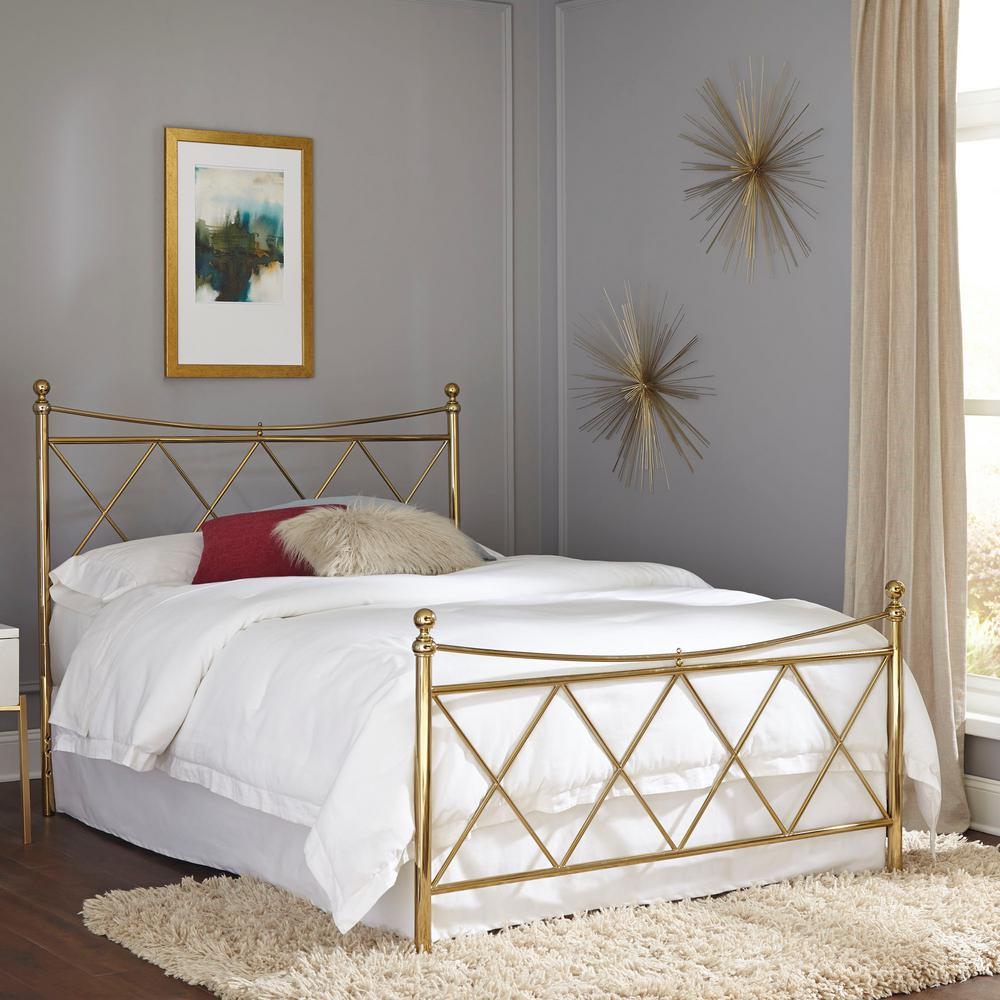 Lennox Classic Brass Full Bed Frame with Metal Duo Panels