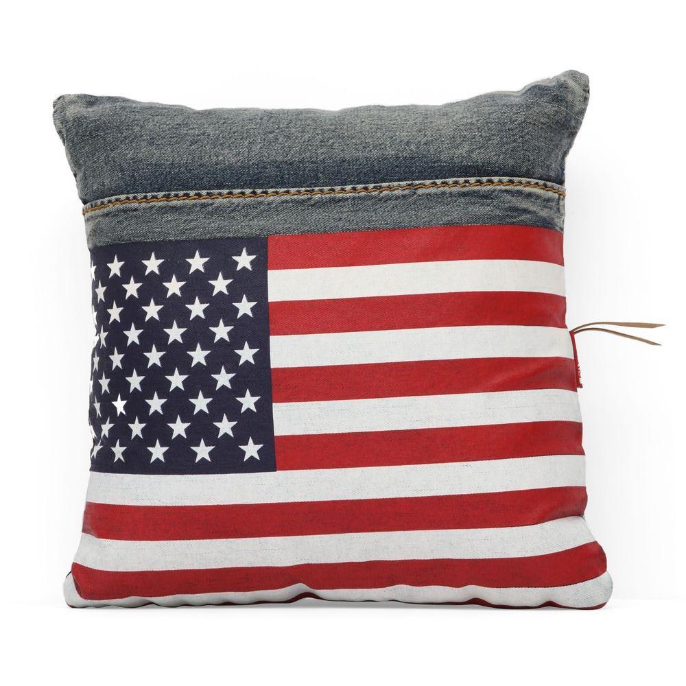 ZUO Cowboy Blue Denim with USA Flag Pillow