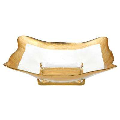 16 in. Square Leaf Wave Bowl in Gold