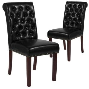Cool Black Leather Dining Chairs Set Of 2 Alphanode Cool Chair Designs And Ideas Alphanodeonline