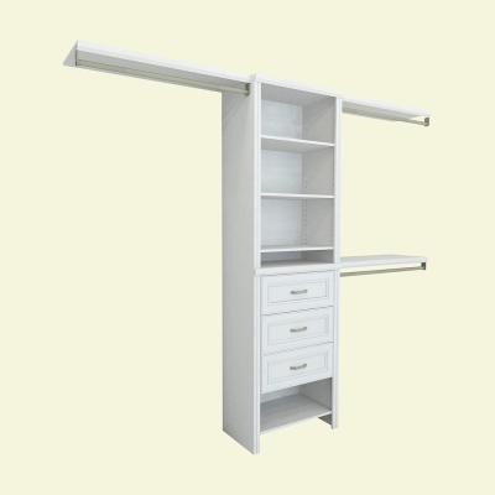 Impressions 14.57 in. D x 120 in. W x 83 in. H White Laminate Basic Plus Closet System