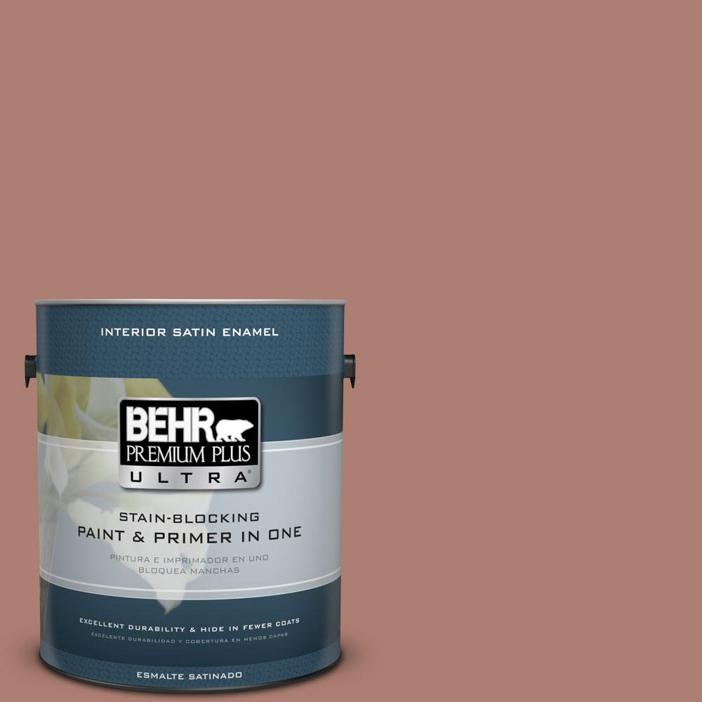 BEHR Premium Plus Ultra 1 gal. #PPU2-11 Mars Red Satin Enamel Interior Paint and Primer in One