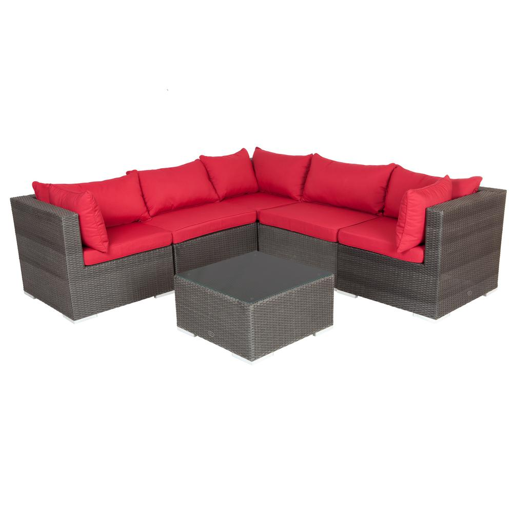 Sino Mocha All Weather Wicker Patio Sectional Sofa Set With Red Cushion And Table