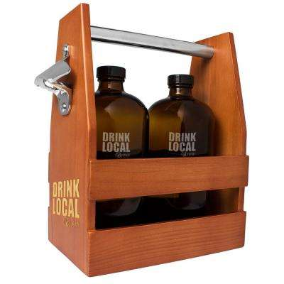 Drink Local Craft Beer Carrier with 2 Bullet Growlers