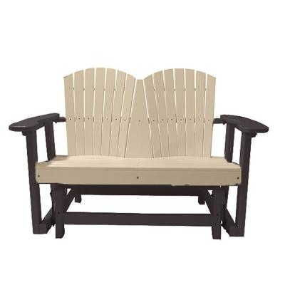 52 in. 2-Person Sandstone on Mocha Recycled Poly-Lumber Outdoor Glider