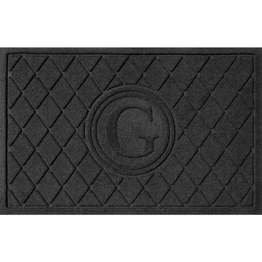 Argyle Charcoal 24 in. x 36 in. Monogram G Door Mat