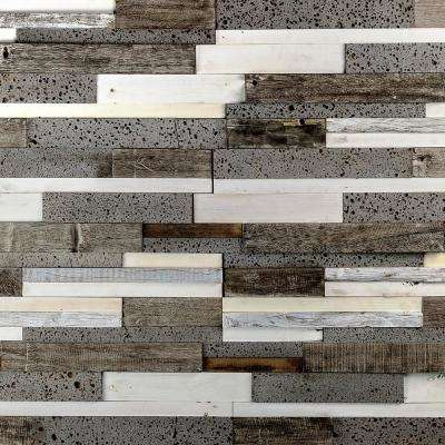 Timber Brown White Gray 11.81 in. x 23.62 in. x 10mm Wood Mosaic Wall Tile (1.93 sq. ft.)
