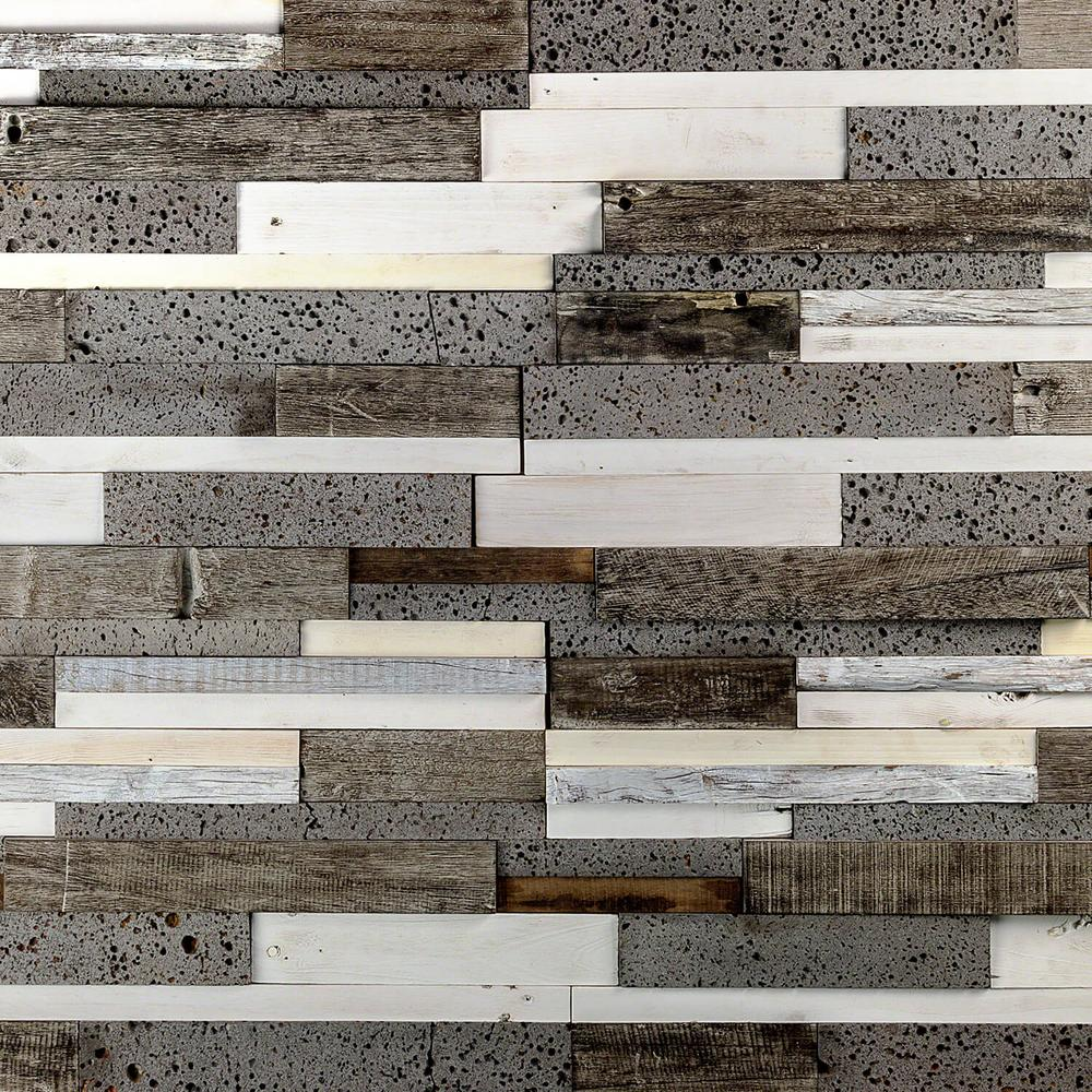 Ivy Hill Tile Timber Brown White Gray 11.81 in. x 23.62 in. x 10mm Wood Mosaic Wall Tile (1.93 sq. ft.)