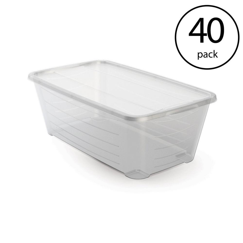 6 Qt. Rectangular Clear Plastic Protective Storage Shoe Box (40-Pack)