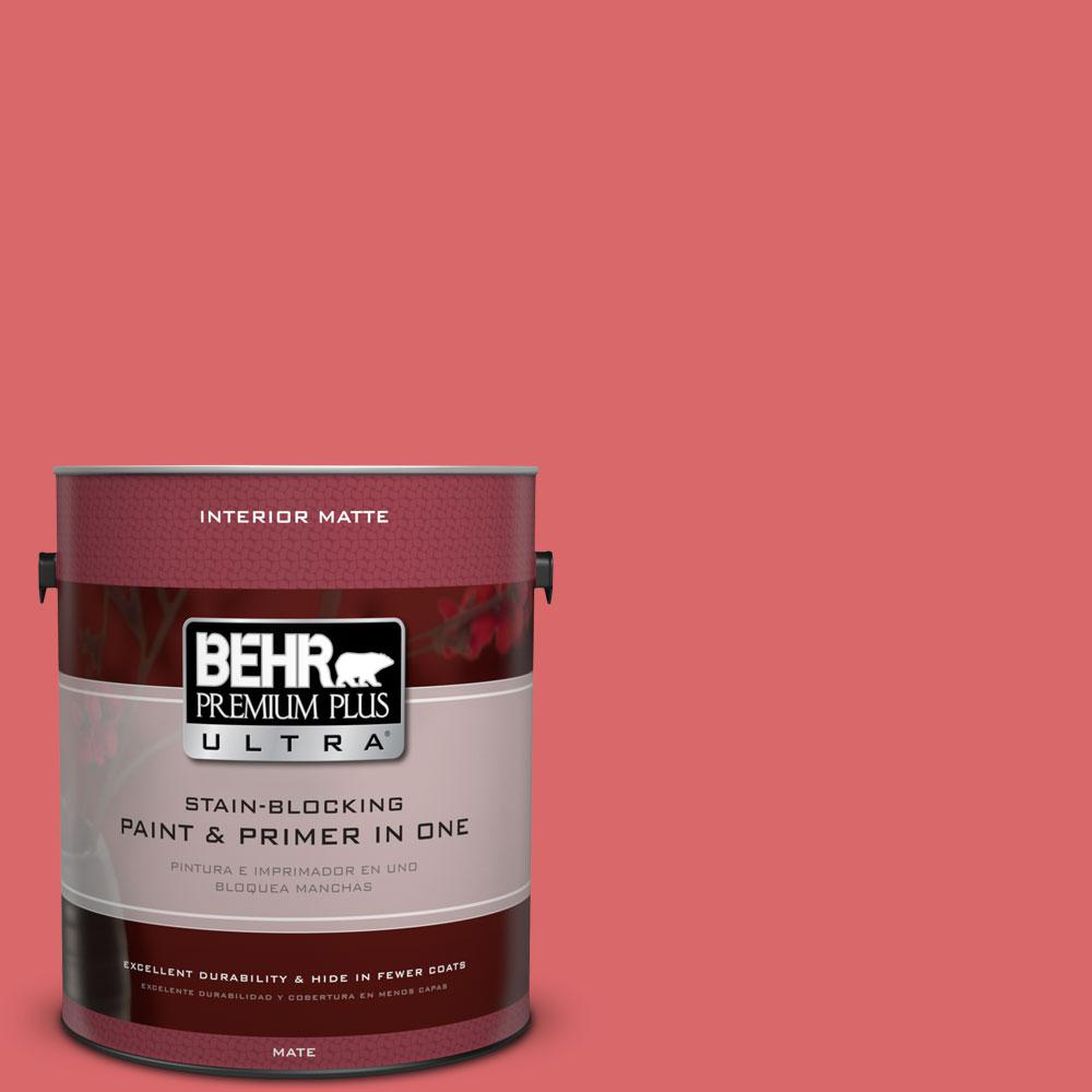 BEHR Premium Plus Ultra 1 gal. #160B-6 Coral Expression Flat/Matte Interior Paint