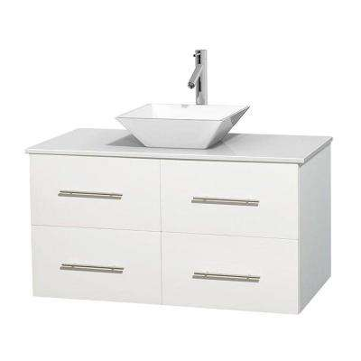 Centra 42 in. Vanity in White with Solid-Surface Vanity Top in White and Porcelain Sink