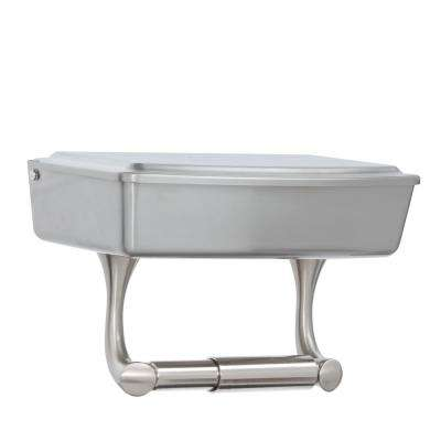 Toilet Paper Holder with Privacy Storage in SpotShield Brushed Nickel
