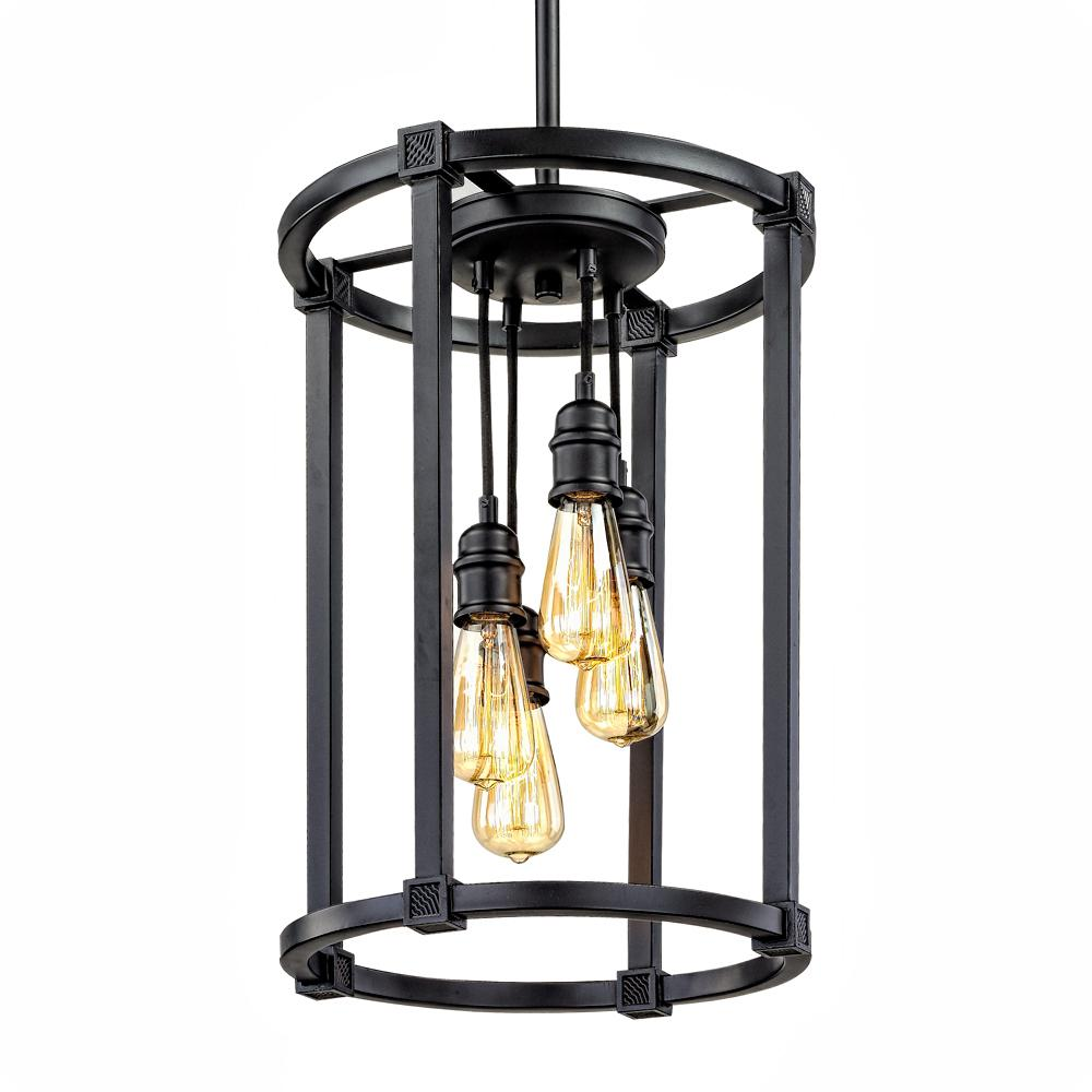 Home Decorators Collection Romaro Row 4-Light Antique Bronze Chandelier  with Vintage Bulbs - Home Decorators Collection Romaro Row 4-Light Antique Bronze