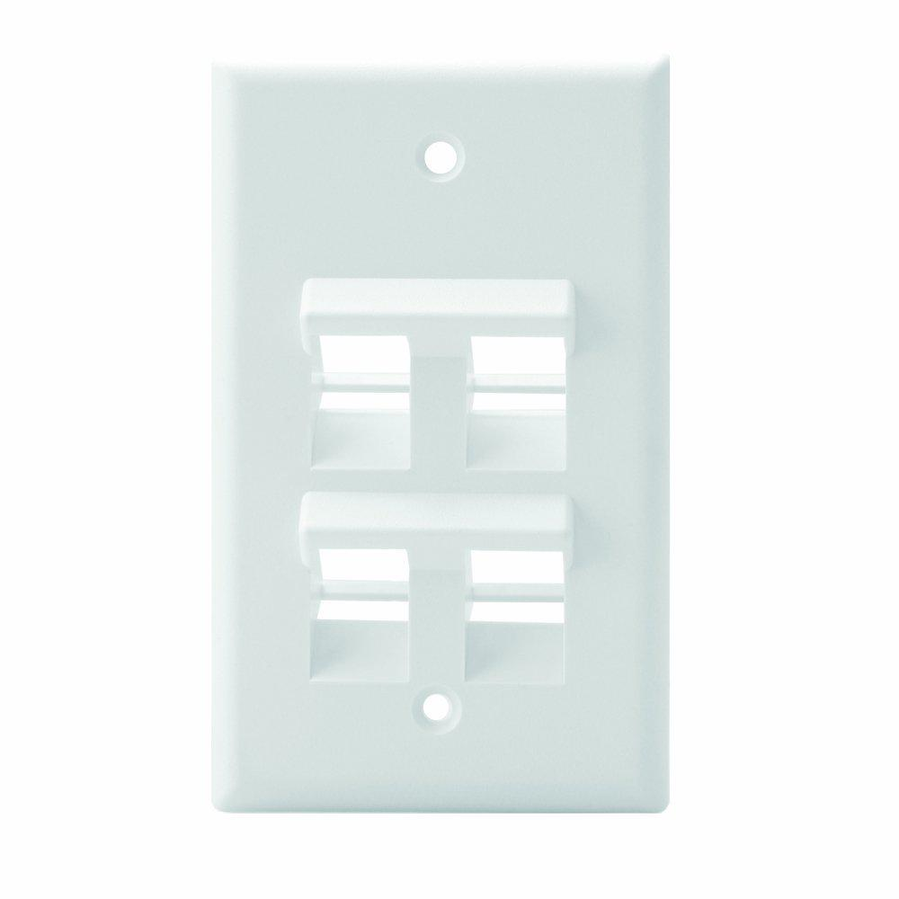 1-Gang QuickPort Standard Size 4-Port Angled Wallplate, White