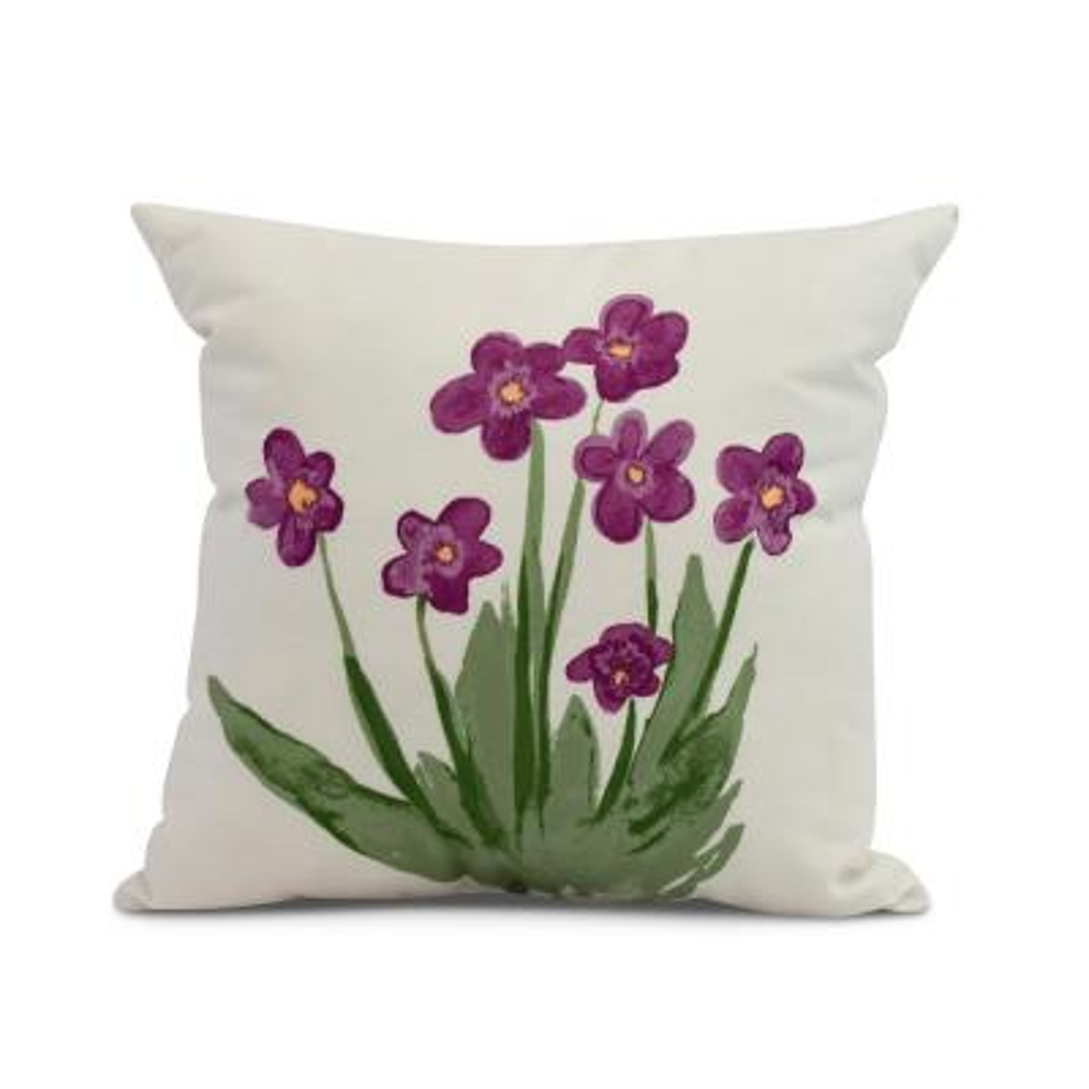 Pretty Little Flower Purple Decorative Floral Throw Pillow