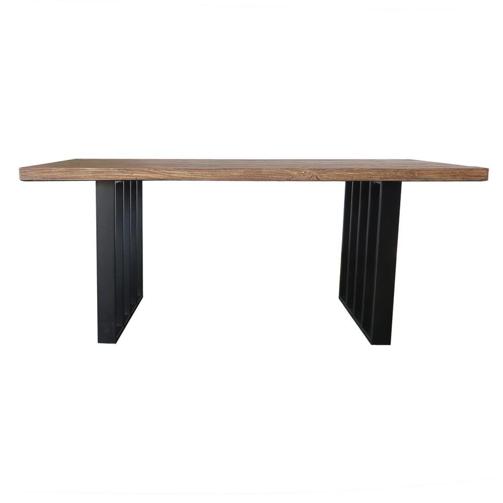 Kantor Natural Oak Rectangular Light-Weight Concrete Outdoor Dining Table