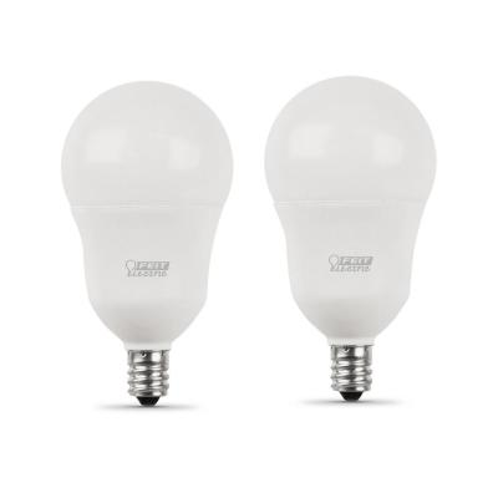 60-Watt Equivalent A15 Candelabra Dimmable CEC Title 24 White Glass LED Ceiling Fan Light Bulb Soft White (2-Pack)