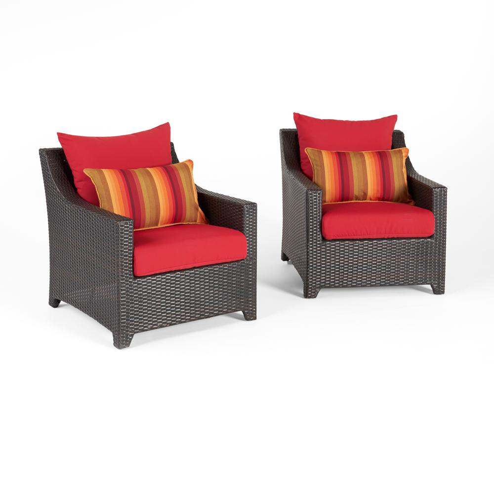 Deco 2 Piece All Wather Wicker Patio Club Chair Seating Set With Sunset