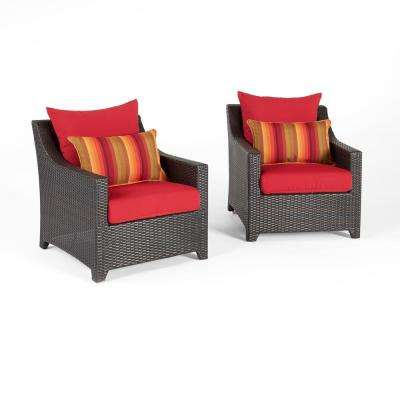 Deco 2-Piece All-Wather Wicker Patio Club Chair Seating Set with Sunset Red Cushions
