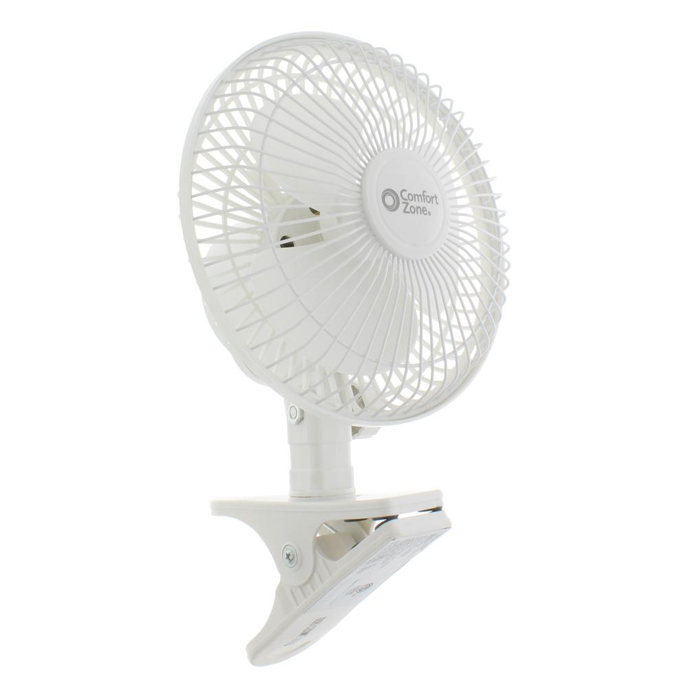 Comfort Zone 6 in. Quiet Portable Indoor 2-Speed Desk Fan with Clip and Fully Adjustable Tilt in White