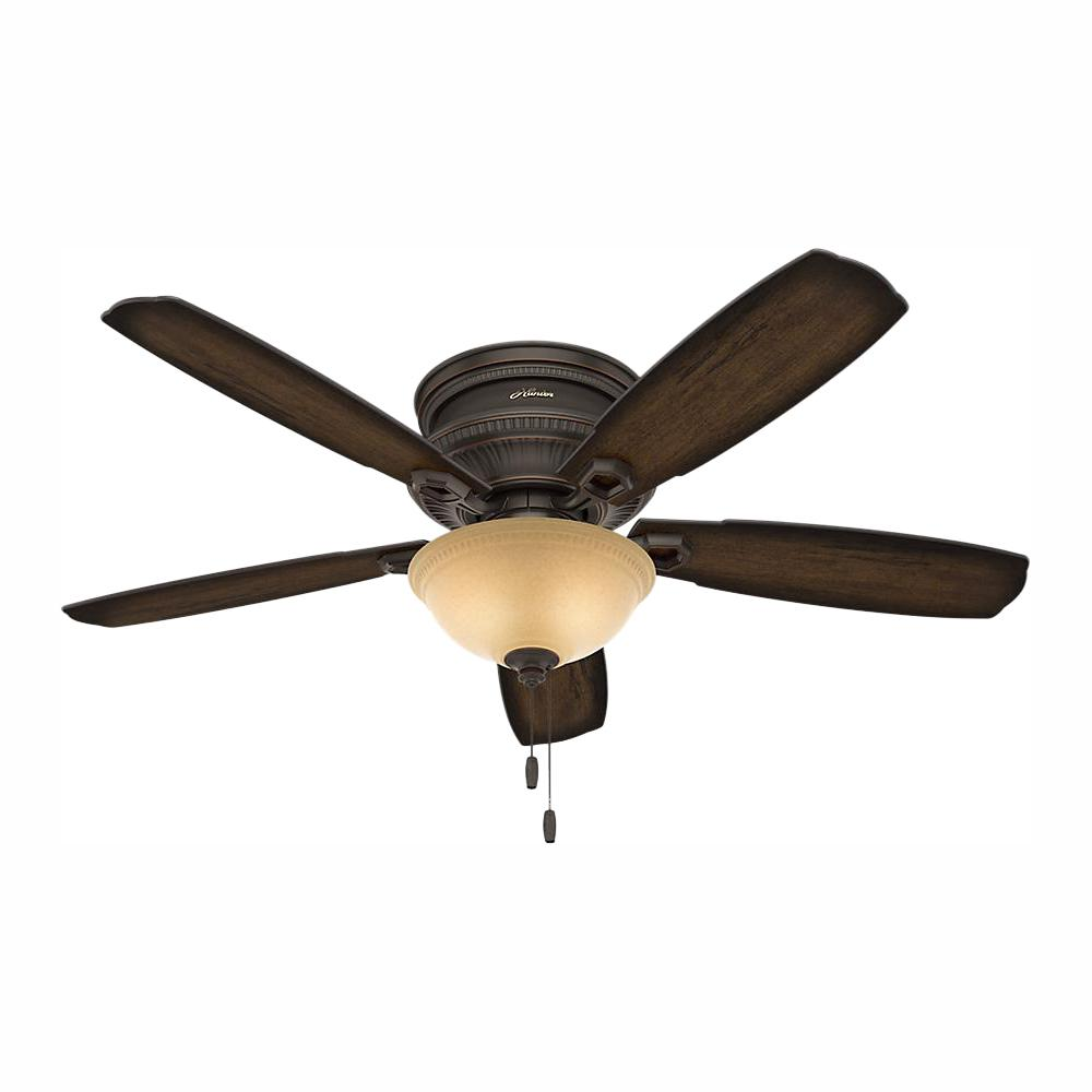 Hunter Ambrose 52 in. Indoor Onyx Bengal Bronze Low Profile Ceiling Fan with Light