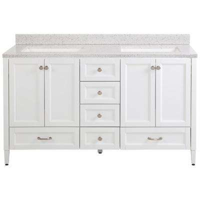 Claxby 61 in. W x 22 in. D Bathroom Vanity in White with Solid Surface Vanity Top in Silver Ash with White Sink