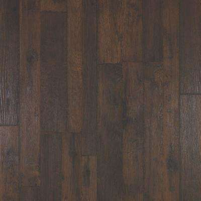 Outlast+ Mainland Brown Hickory Laminate Flooring 5 in. x 7 in. Take Home Sample