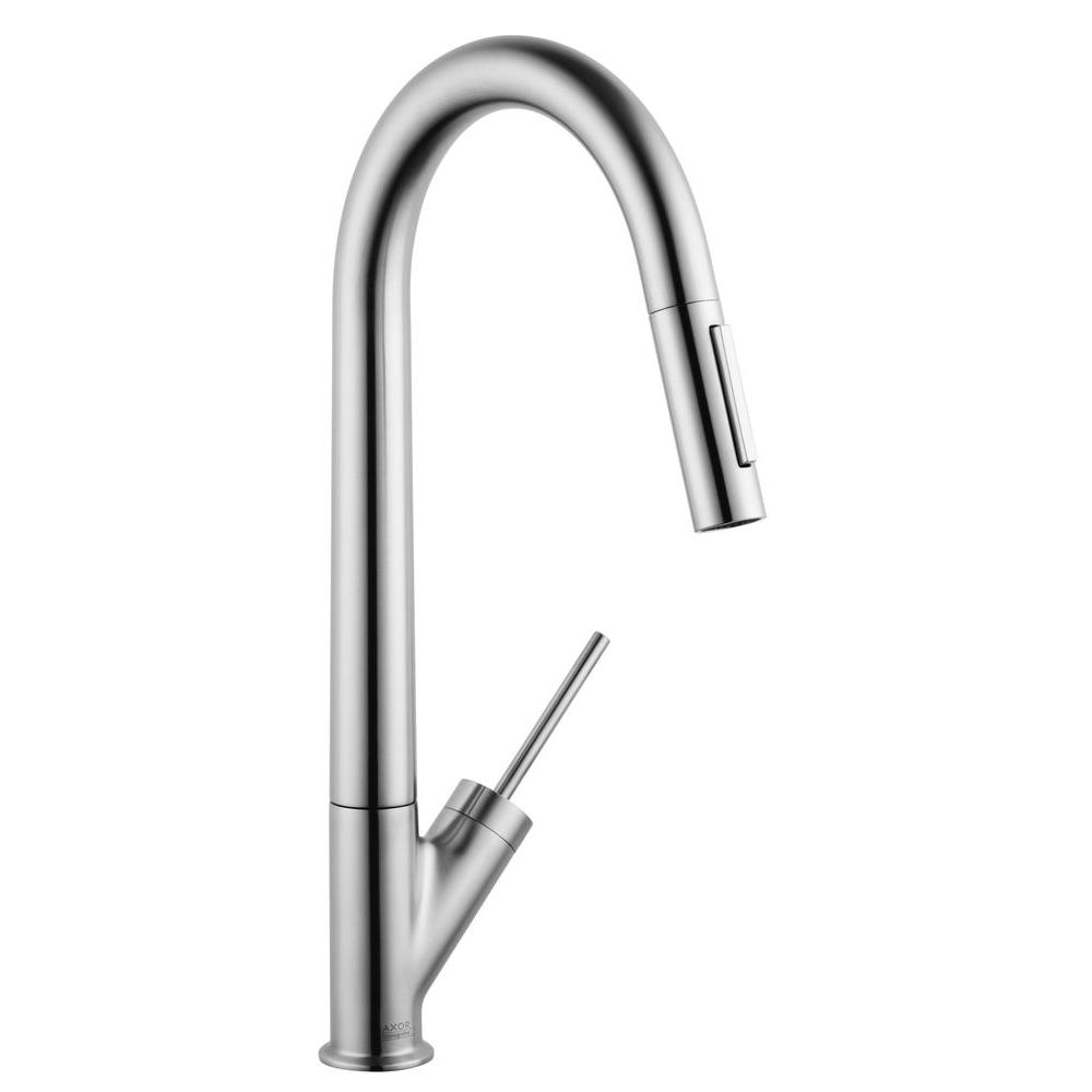 Hansgrohe Axor Starck Single-Handle Pull-Down Sprayer Kitchen Faucet in Steel Optik