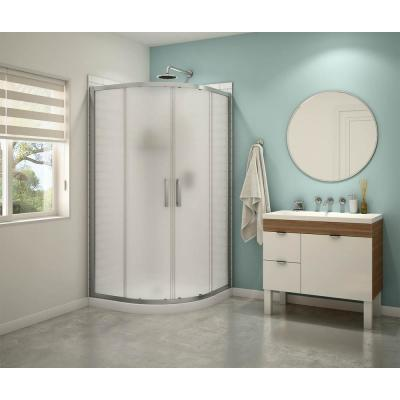 Sakura 38 in. x 71.5 in. Semi-Frameless Sliding Shower Door in Mistelite Chrome with 38 in. x 38 in. Base in White