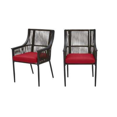 Bayhurst Black Wicker Outdoor Patio Stationary Dining Chair with CushionGuard Chili Red Cushions (2-Pack)