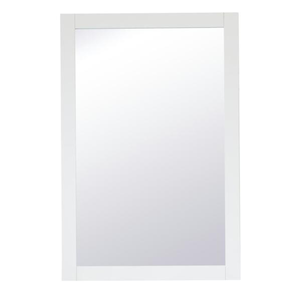 Medium Rectangle White Contemporary Mirror (36 in. H x 24 in. W)