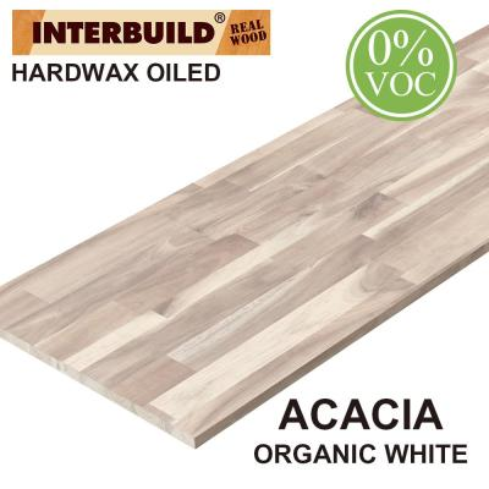 Acacia 8 ft. L x 25 in. D x 1 in. T Butcher Block Countertop in Organic White Stain