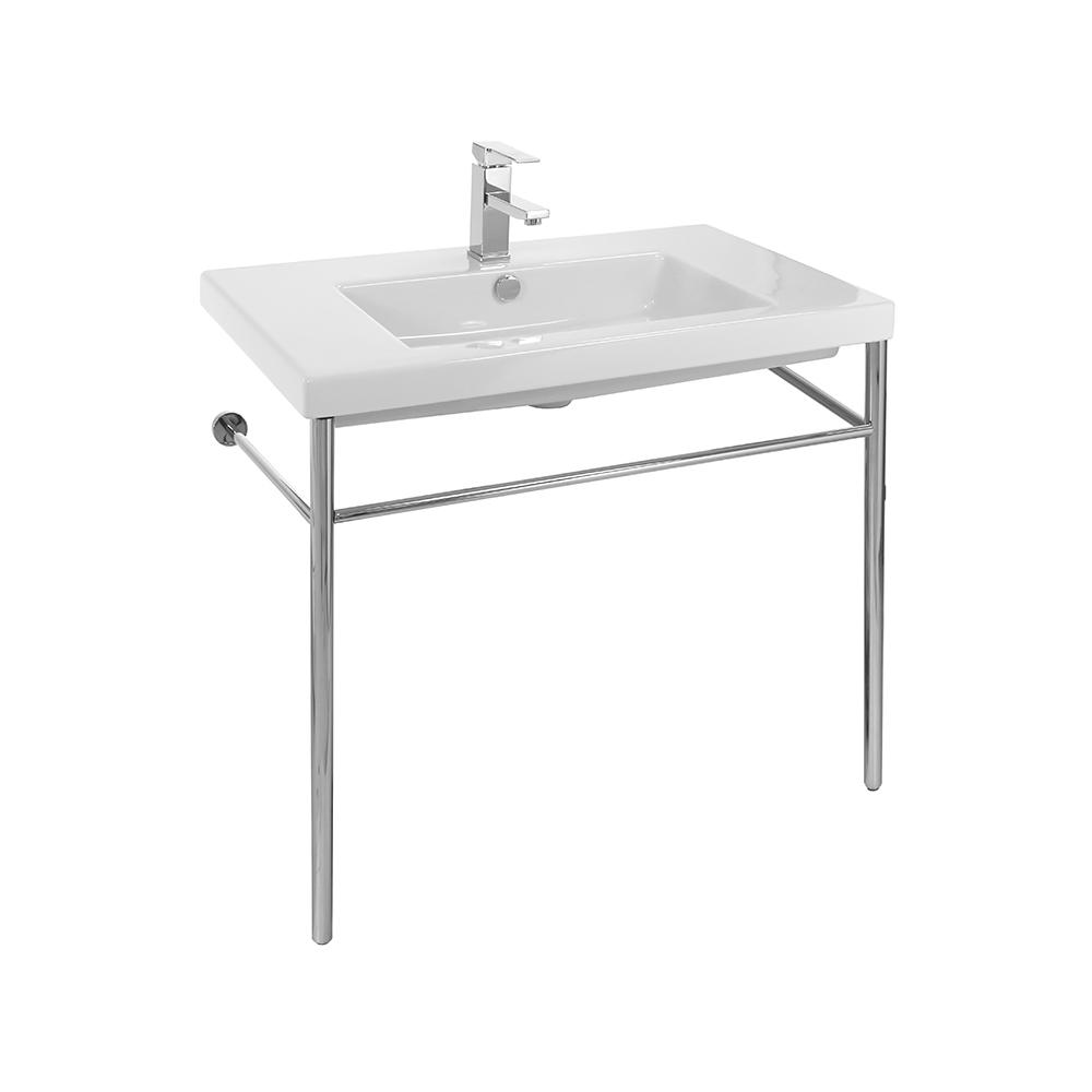 Cangas Ceramic Console Bathroom Sink with Chrome Stand